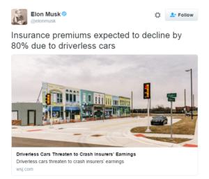 Tuit Elon Musk sobre Seguros