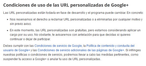 Google Plus URL personalizada